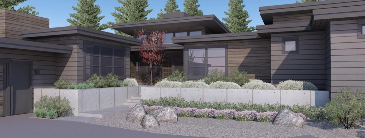 Custom home front rendering detail