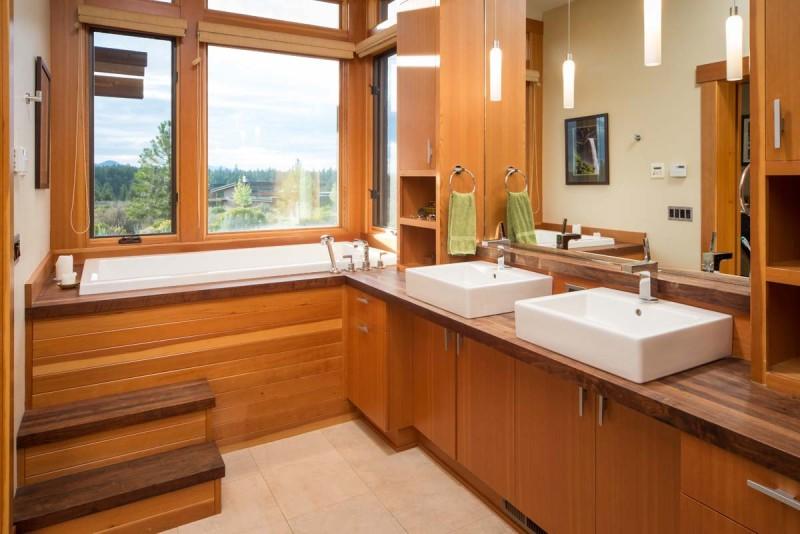 wood clad bathtub